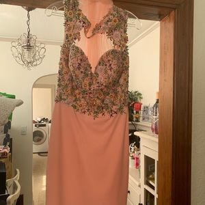 Dresses & Skirts - Peach/ floral embroidered beautiful dress
